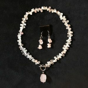 Silpada Rose Quartz Necklace and Earring set